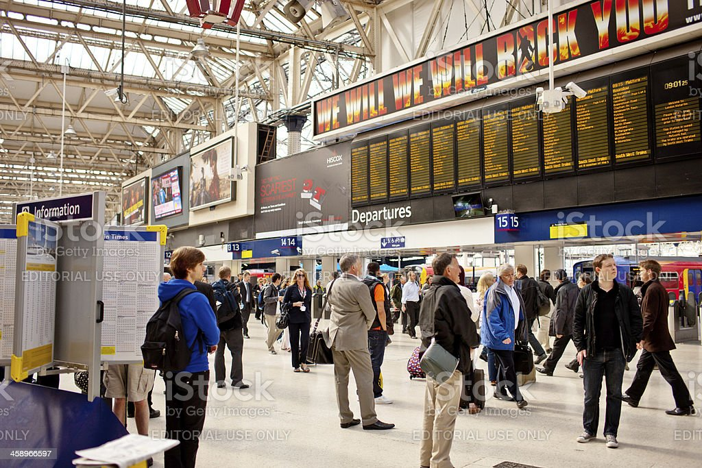 People Waiting at Waterloo Railroad Station, London stock photo