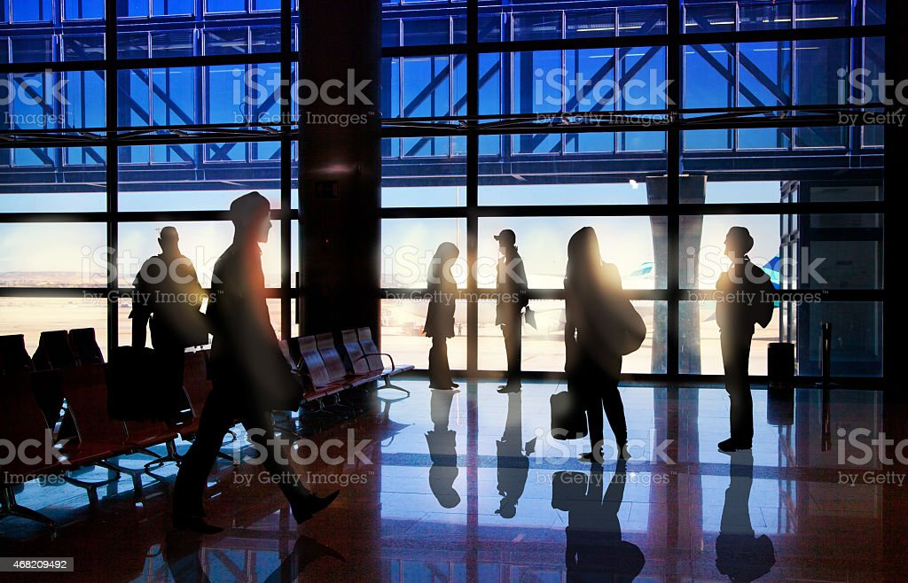 People waiting departure in airport, Illustration stock photo