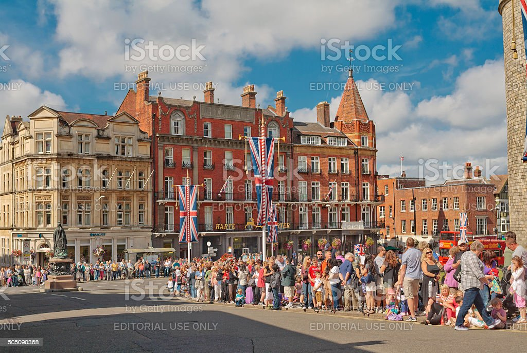 People waiting for Guard Changing in Windsor stock photo