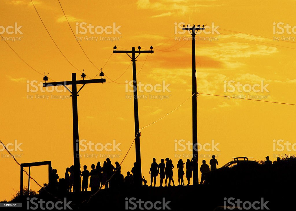 People waiting for sunset royalty-free stock photo