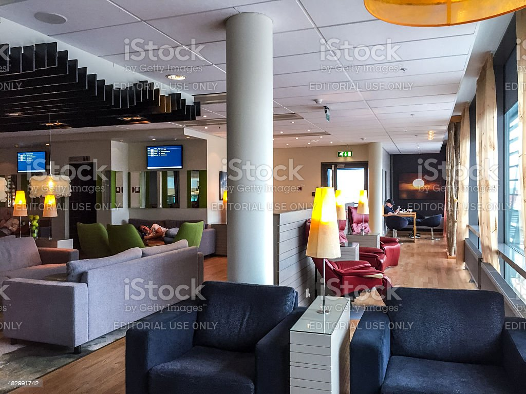 People waiting for their flights in Business Lounge, Oslo Airpor stock photo