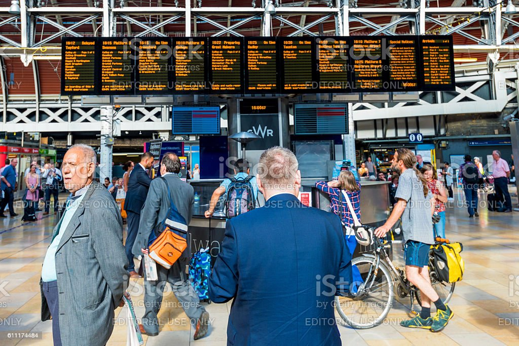 People waiting for there train in Paddington stock photo