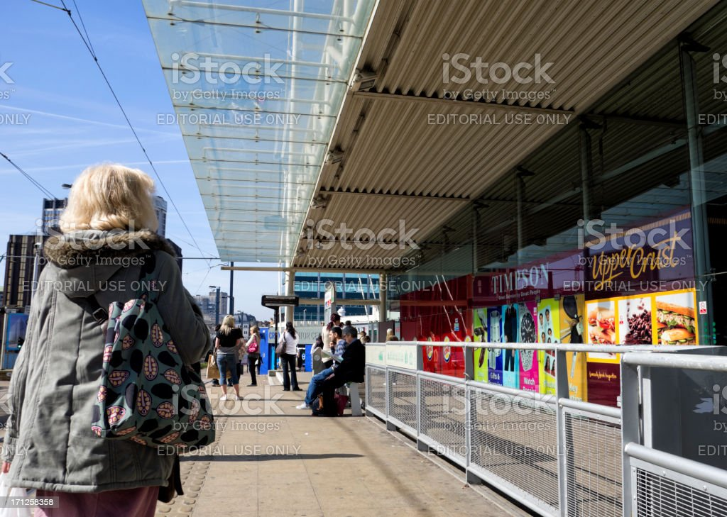 People waiting for trams in Croydon royalty-free stock photo