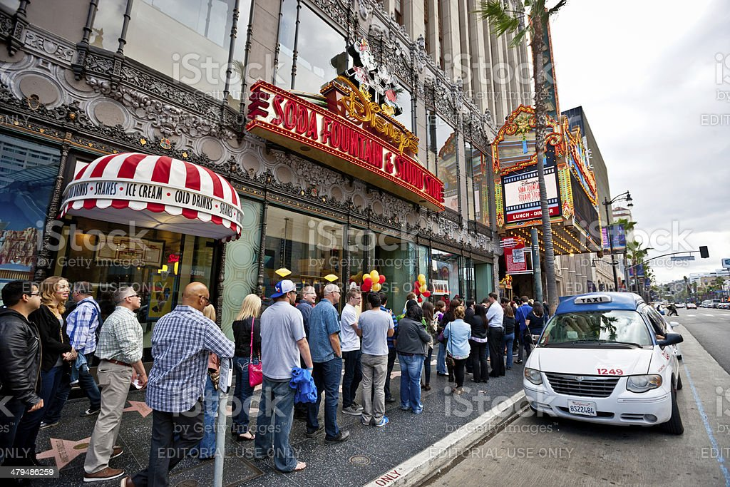 People waiting in line near El Capitan Theatre, Hollywood stock photo