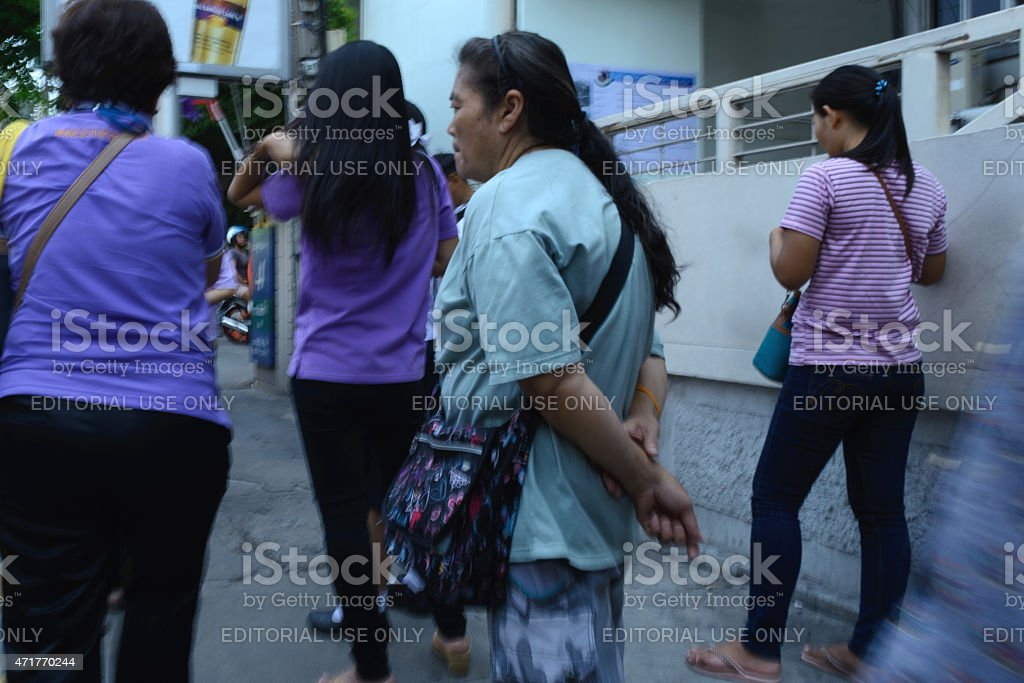 People waiting The bus. stock photo