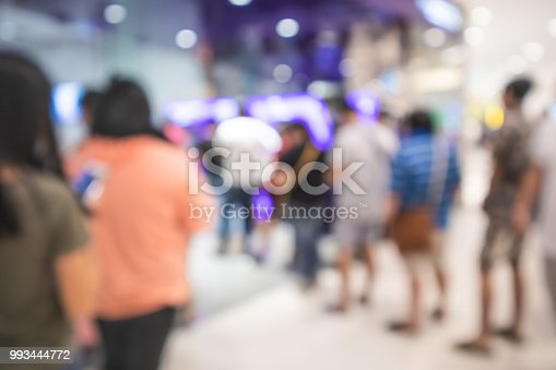 istock People waiting up a queue at ATM in department store, Blurred background 993444772