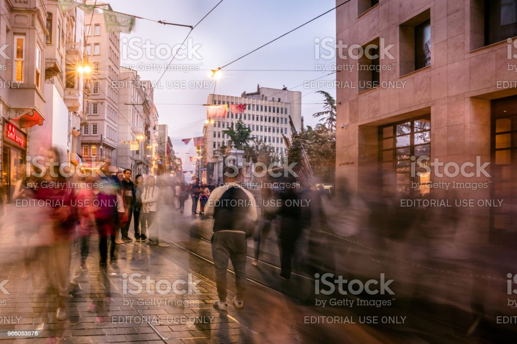 People walk at Istiklal street in Istanbul - Royalty-free Activity Stock Photo