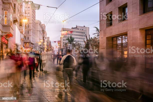 People Walk At Istiklal Street In Istanbul Stock Photo - Download Image Now