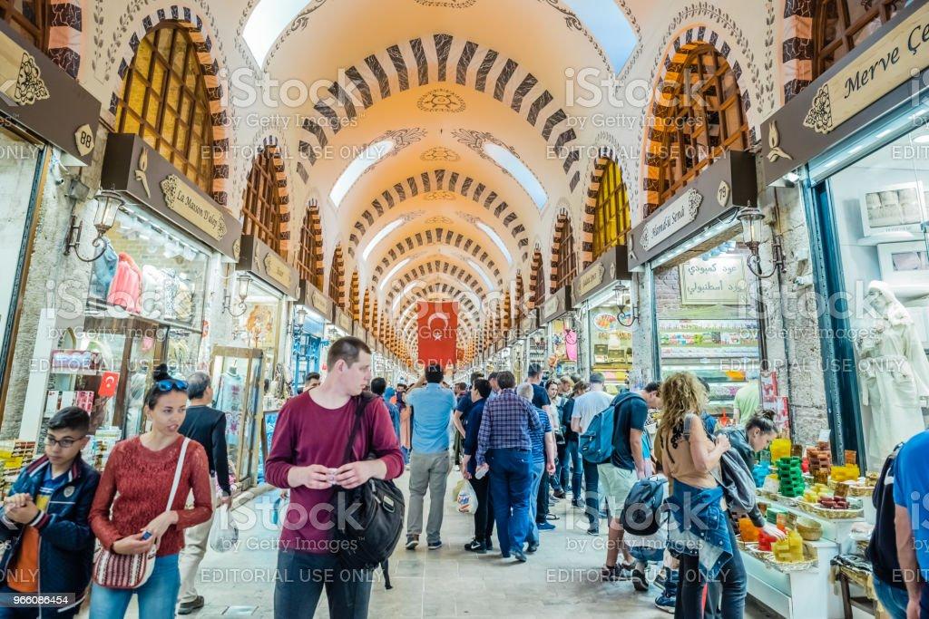Mensen lopen in Spice of Egyptische Bazaar - Royalty-free Ambachtelijk eten en drinken Stockfoto