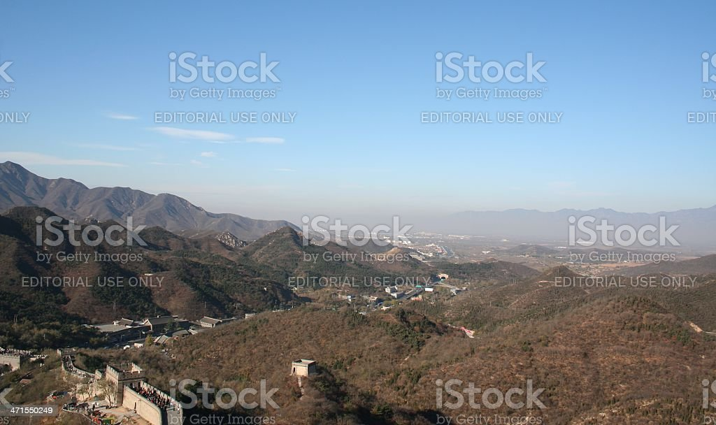 People walk on Great Wall of China close to Beijing royalty-free stock photo