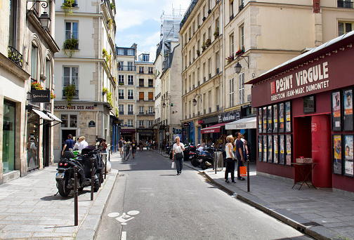 People Walk On One Of Streets Of Le Marais Stock Photo - Download Image Now