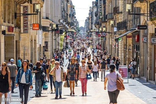 istock People walk on Rue Sainte-Catherine street in Bordeaux, France 1151186909