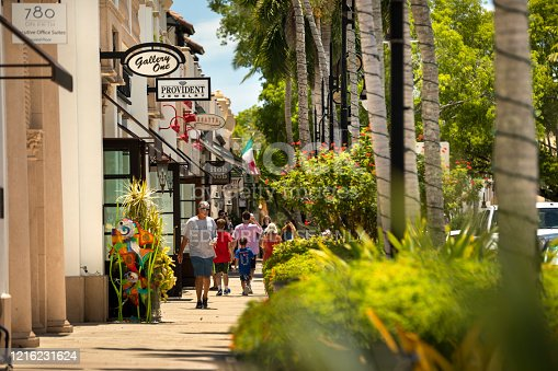 Naples, Florida - June 14, 2019:  Tourist walk and shop along the restaurants and luxury stores of 5th Avenue in downtown Naples Florida USA