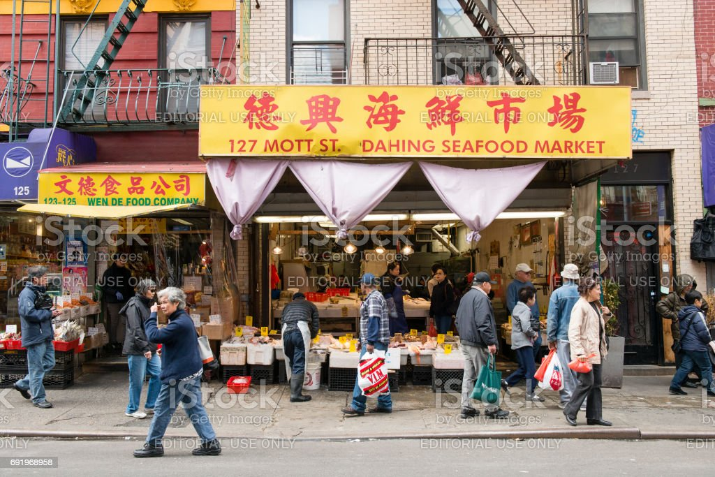 People Walk Sidewalk By Chinatown Market In Nyc Stock Photo Download Image Now Istock