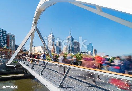 istock People walking across the Southgate footbridge in Melbourne 496704966