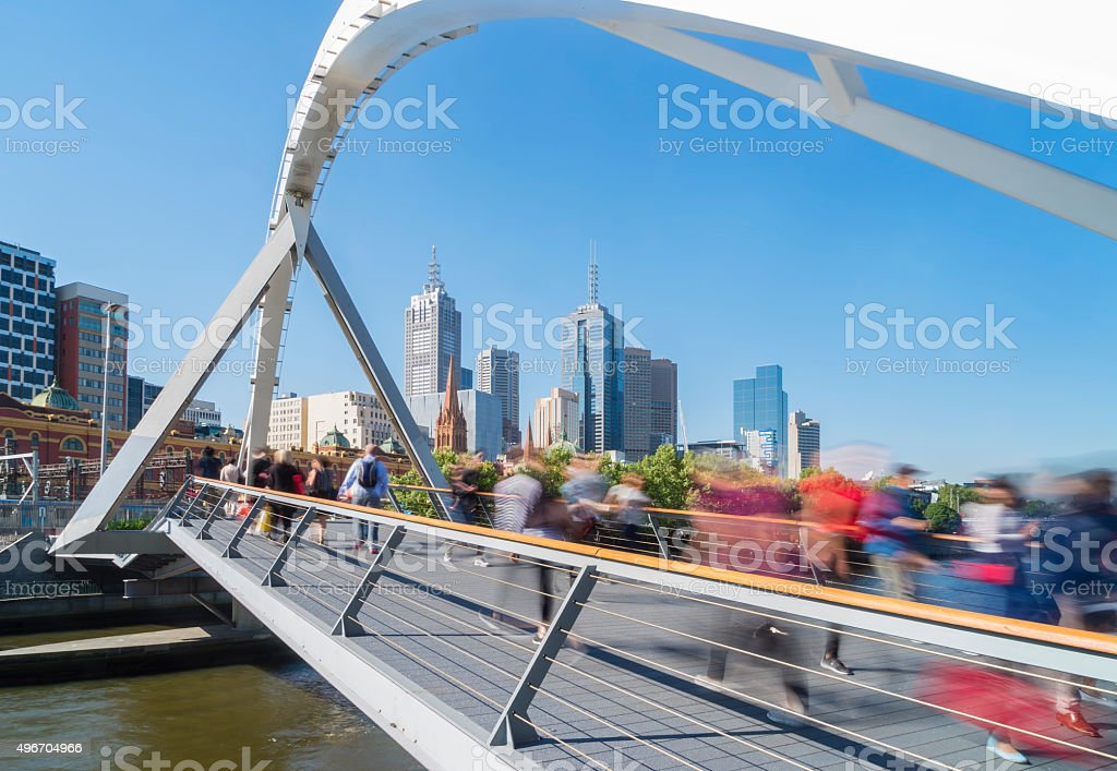 People walking across the Southgate footbridge in Melbourne stock photo