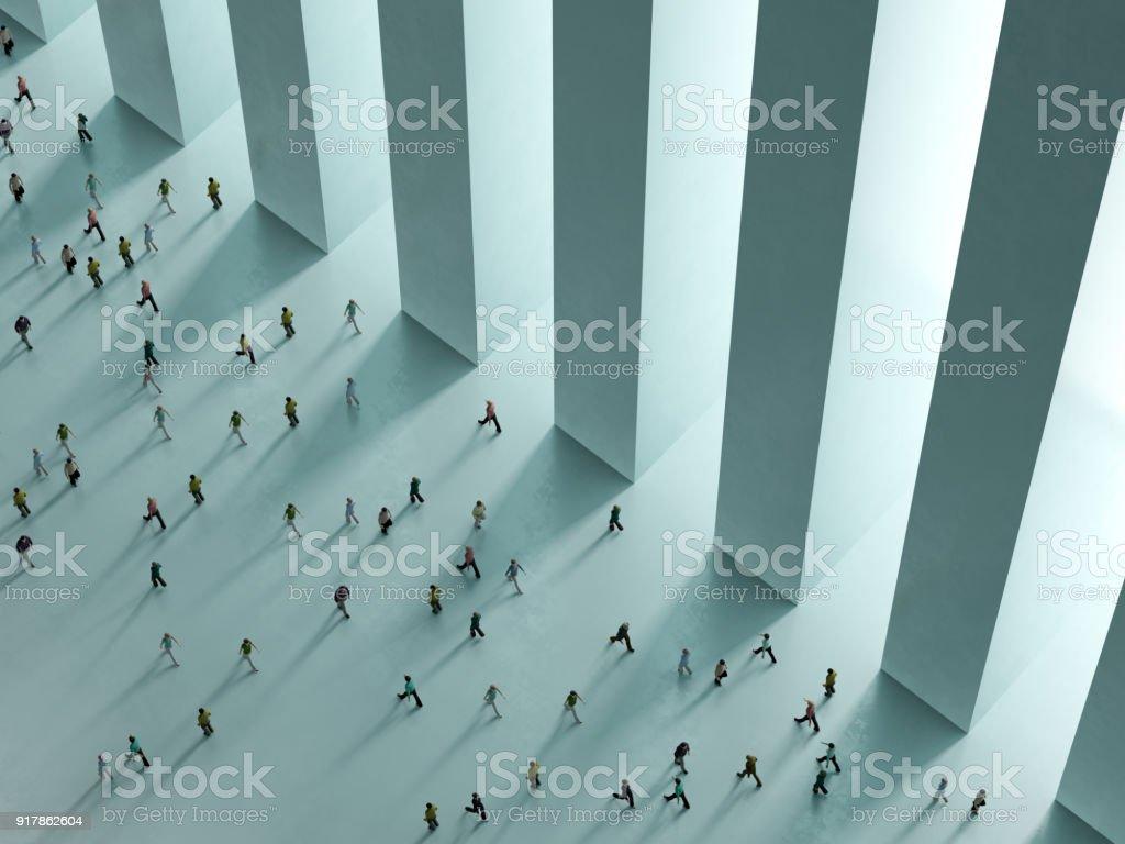 Gente caminando contra la representación 3D de vista superior de fondo blanco foto de stock libre de derechos