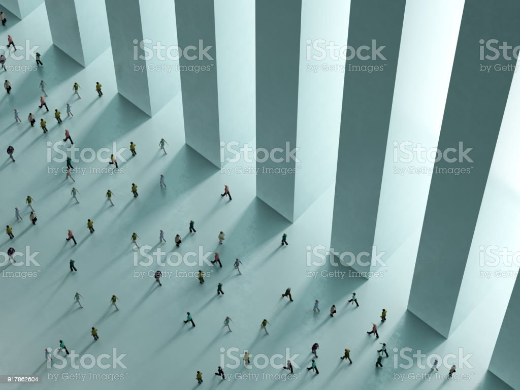 People walking against the white background top view 3D rendering stock photo