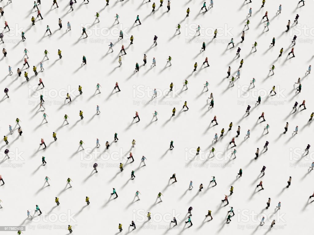 People walking against the white background top view stock photo