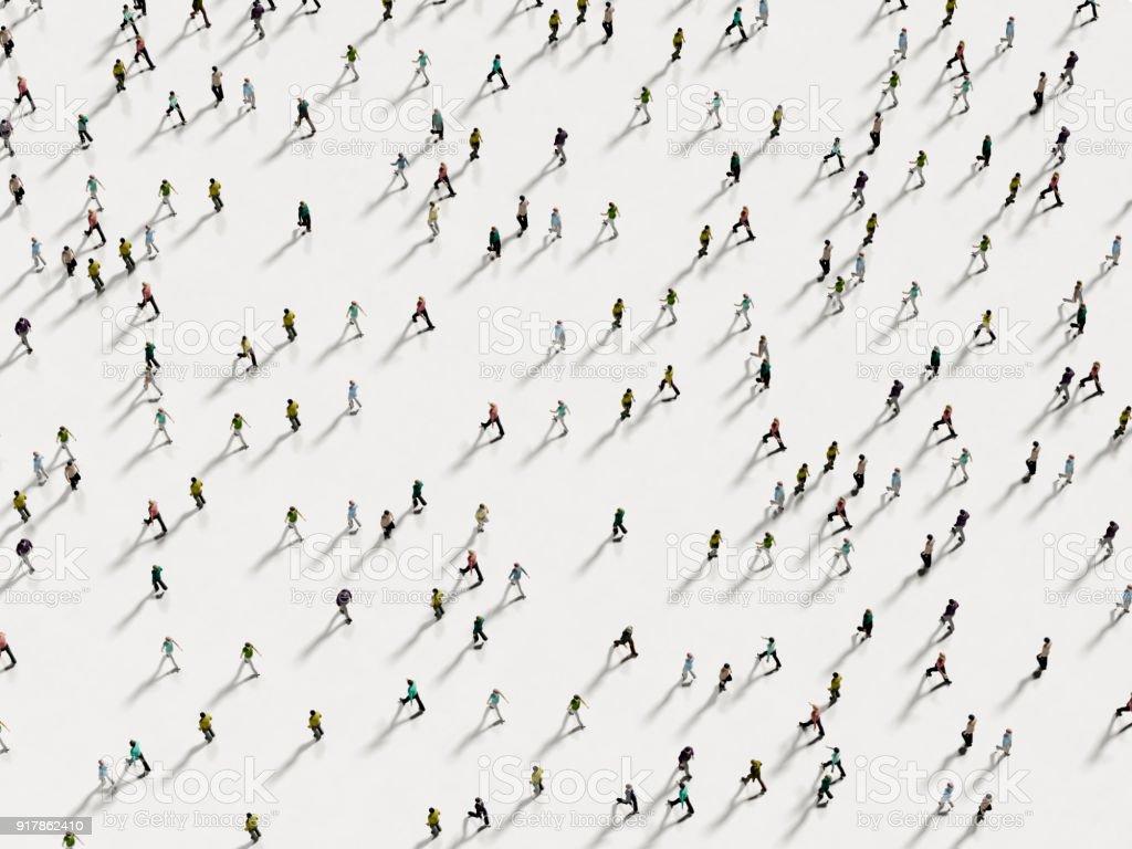 Menschen zu Fuß gegen den weißen Hintergrund-Draufsicht – Foto