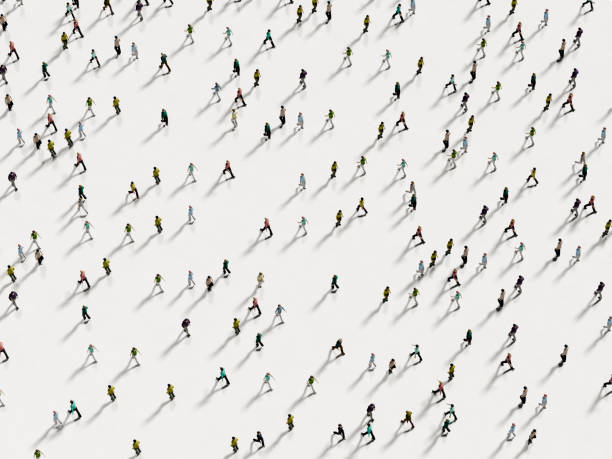 people walking against the white background top view - high angle view stock pictures, royalty-free photos & images
