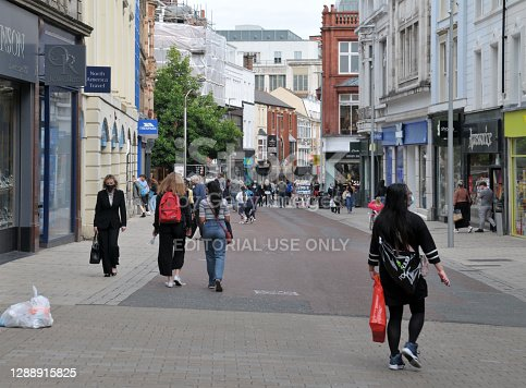 Leeds, West Yorkshire, United Kingdom - 4 September 2020: people walking along commercial street in the centre of leeds, west yorkshire