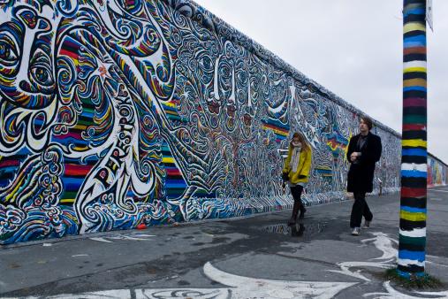 People walking along the wall