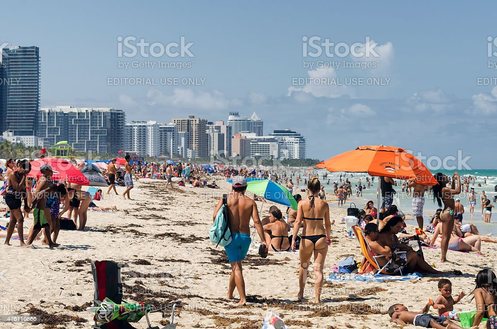 People Walking And Relaxing On A Beach South Miami Florida Royalty Free Stock