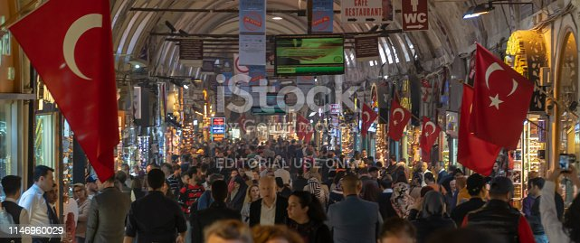Istanbul, Turkey - April 30, 2019: Egyptian Bazaar (Turkish: MISIR CARSISI) in Eminonu, Istanbul, Turkey. Famous tourist attraction spot.