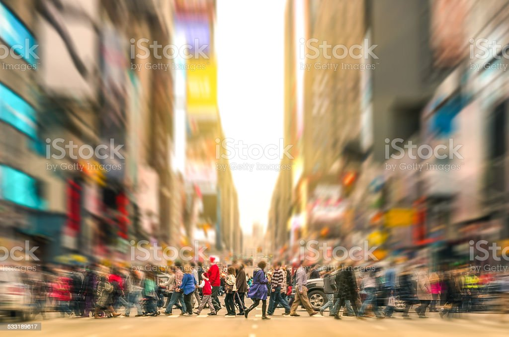 People walking and traffic jam in New York City Manhattan stock photo