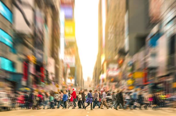 People walking and traffic jam in New York City Manhattan stock photo