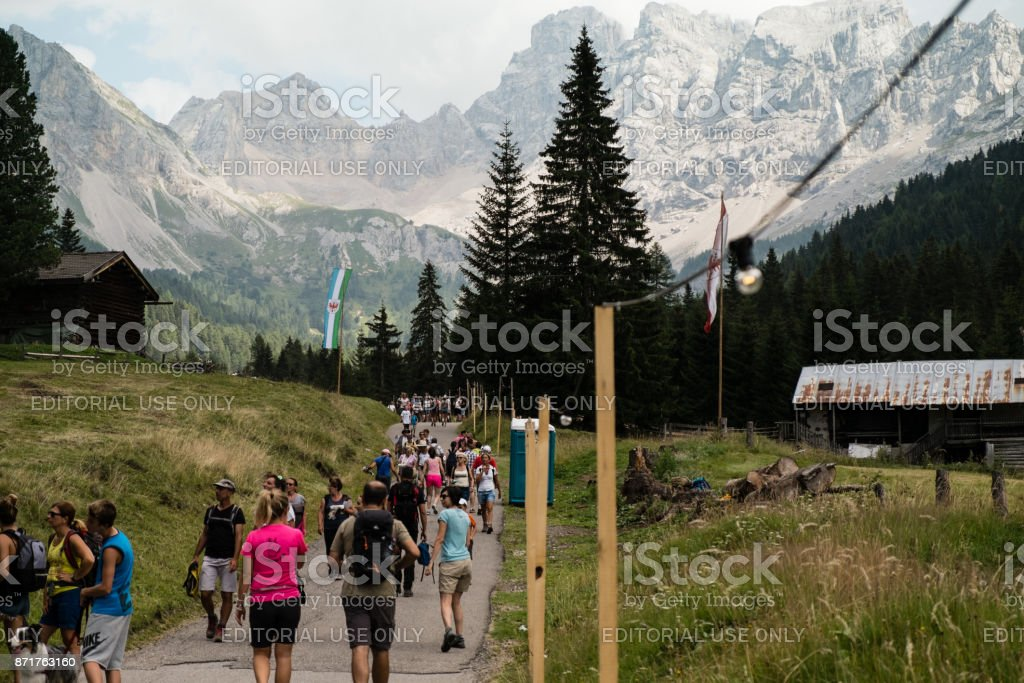 People walking at Festa Ta Mont, traditional Ladino festival stock photo