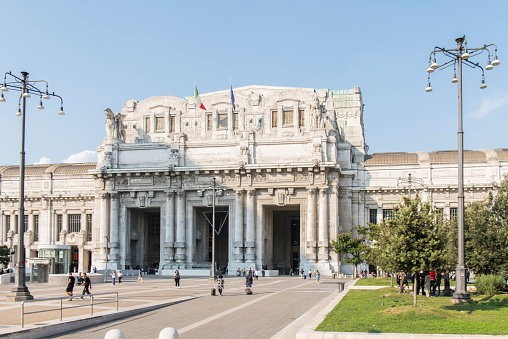 People walking at front of Milan Centrale at Milan city, Italy.