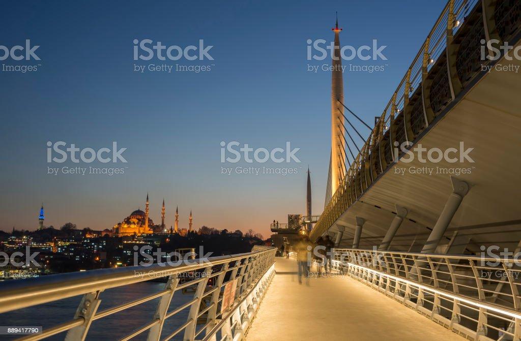 People Walking At Halic Metro Bridge, Istanbul, Turkey stock photo