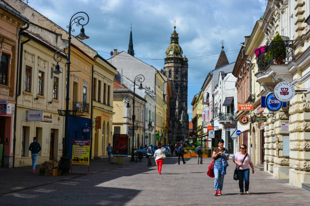 People walking at Mlynska street, near St Elisabeth Cathedral stock photo