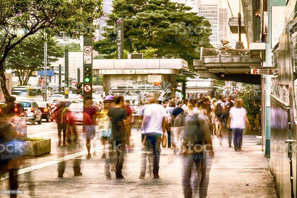 People walking at Paulista Avenue stock photo