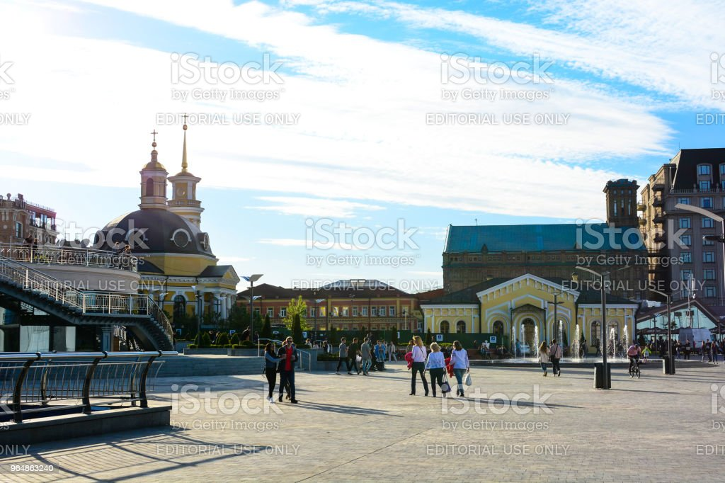 People walking at the Kyiv River Port. Church of the Nativity of Christ royalty-free stock photo