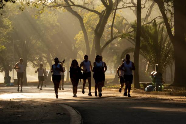 People walking, biking and running on Ibirapuera Park, in Sao Paulo stock photo