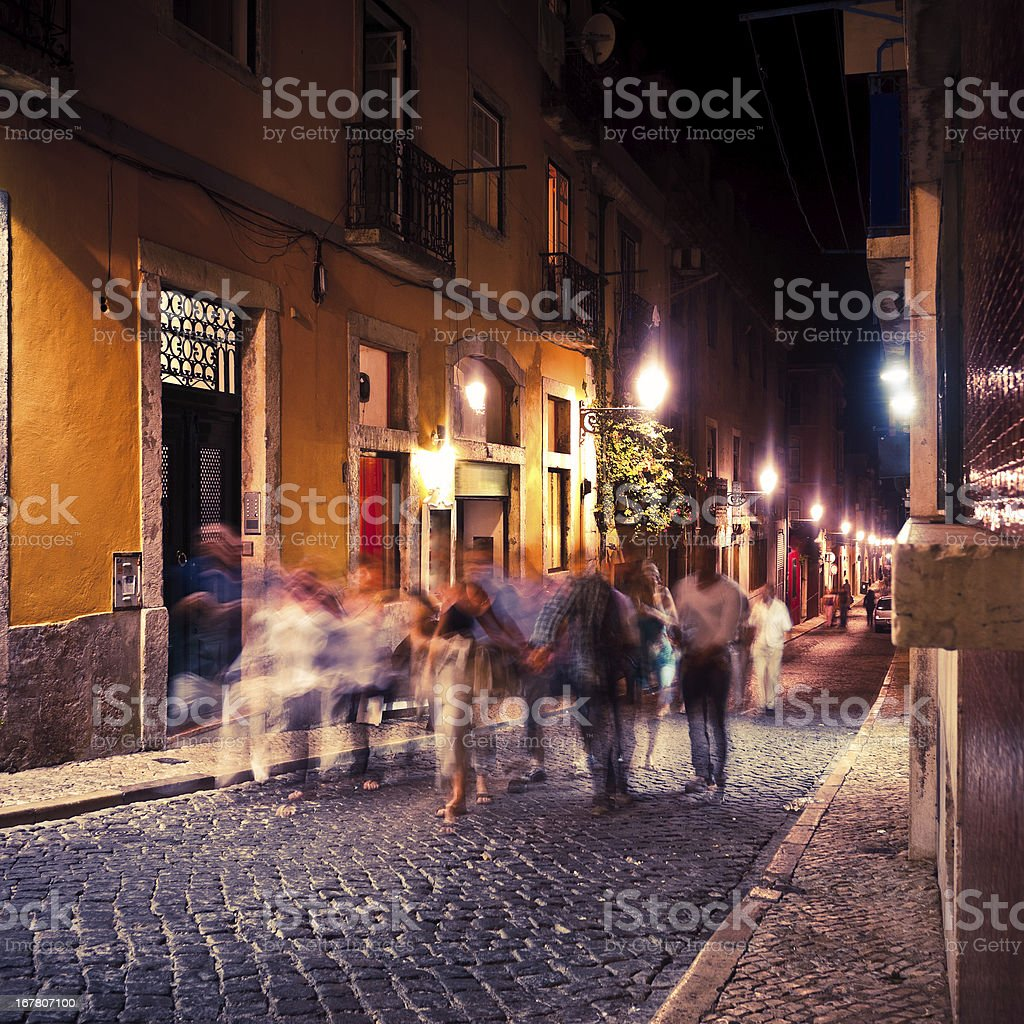 People Walking by Night, Nightlife, Barrio Alto of Lisbon, Portugal stock photo