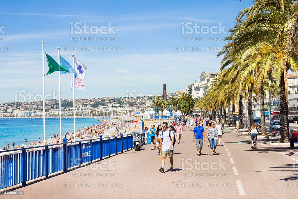 People walking by the Promedade des Anglais, Nice, France stock photo