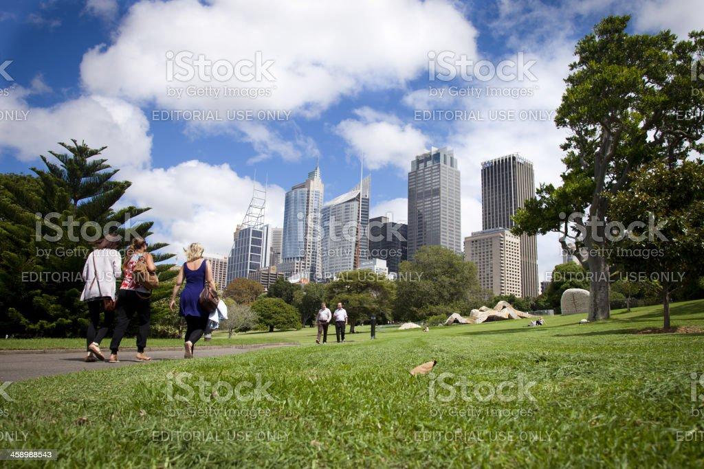 People walking in a Sydney Park stock photo