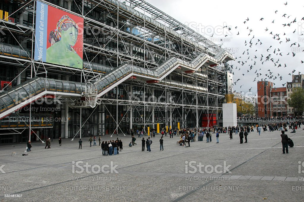 People walking in front of the Centre Georges Pompidou stock photo
