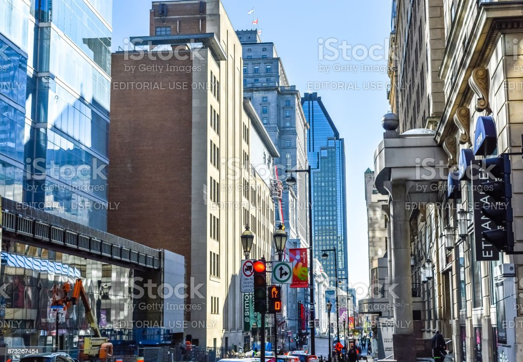 People walking in Montreal downtown stock photo