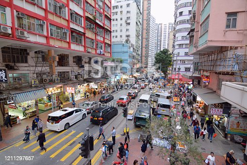 People walking on the street in the busy North Point district, Hong Kong island.