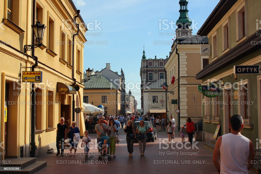People walking in Old Town of Zamosc, Poland - Royalty-free Ancient Stock Photo