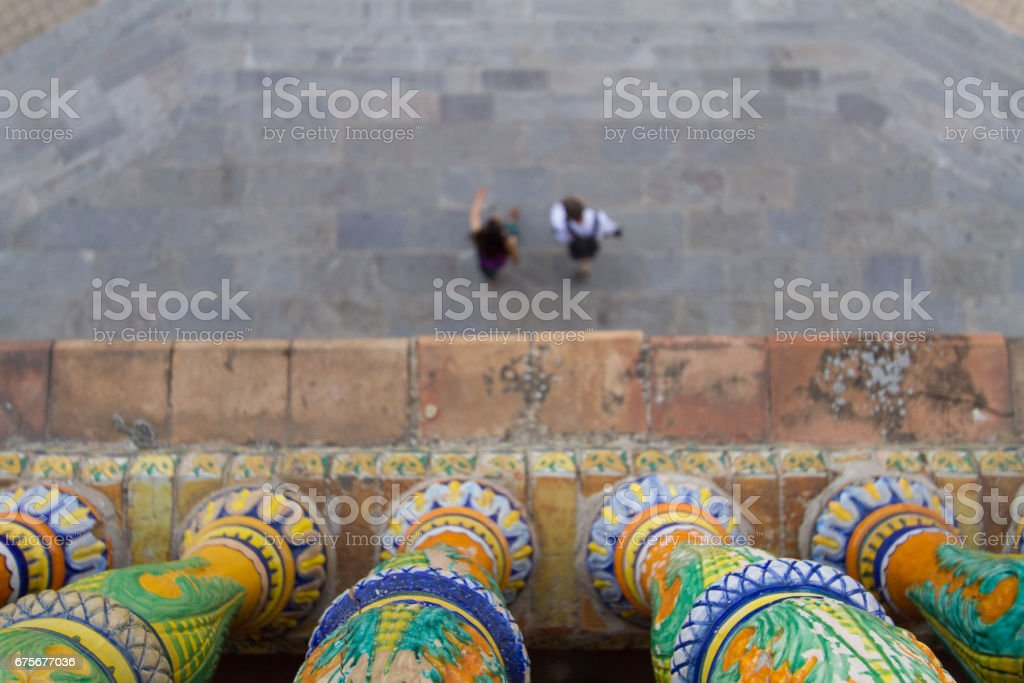 People walking in Plaza de Espana, Seville royalty-free stock photo