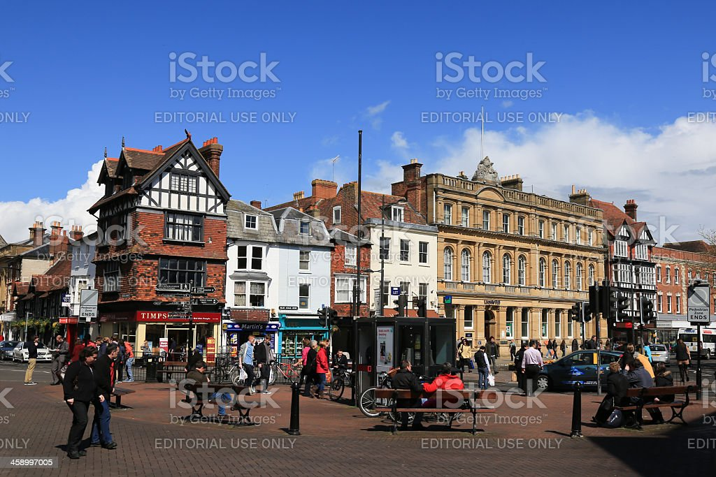 People Walking in Street of Salisbury City Center, England stock photo