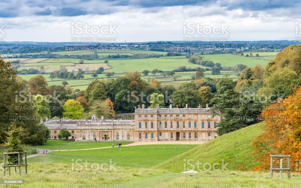 People walking in the Dyrham Park countryside stock photo