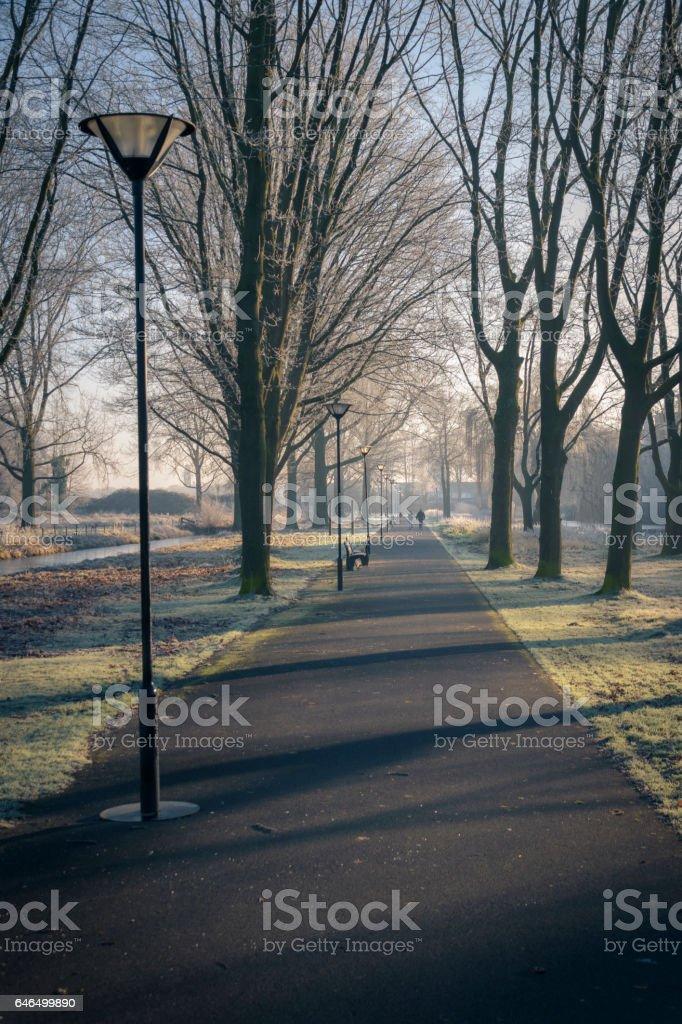 Mensen lopen in de vroege ochtendzon licht met lange schaduwen foto