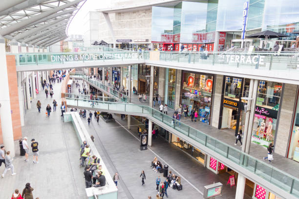 People walking in the Liverpool One shopping centre stock photo